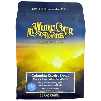 New Mt. Whitney Coffee Roasters Columbia Excelso Decaf Whole Bean Swiss Water