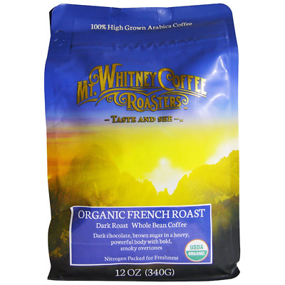 New Mt. Whitney Coffee Roasters Organic French Dark Roast Whole Bean Bold Smoky