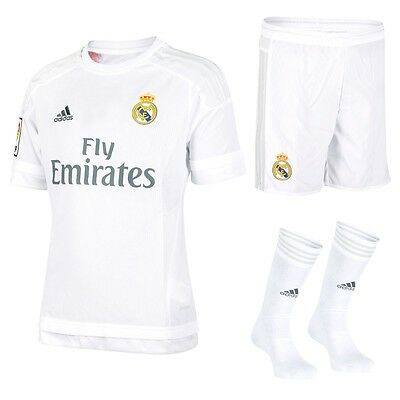 adidas Real Madrid 2015/16 Home White Boys Kids Youth Boxed Full Kit S12662