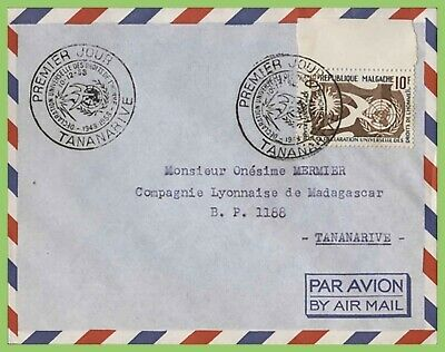 Malagasy 1958 Human Rights issue on Airmail First Day Cover