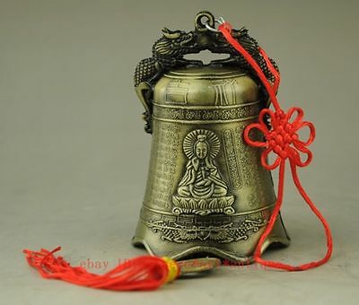 Old chinese hand engraving dragon KWAN-YIN copper cash Ancient bell TT280