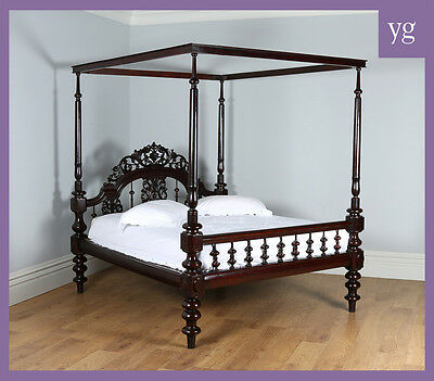 Antique Victorian Colonial Raj Four Poster Post Double Queen Super King Size Bed