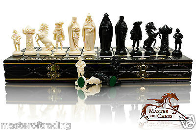 MEDIEVAL White & Black Edition Wooden Chess Set  40x40cm & Plastic Pieces !!!