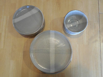 Colorado Hand Thrown Pottery Set of 5 Dinner Plates 5 SP 3 Bowls Taupe Grey