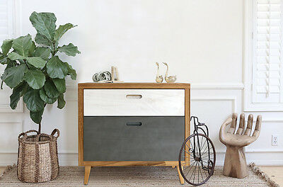 Mobili Rebecca® Nightstand Bedside Table 2 Drawers Wood Blue White Brown Vintage
