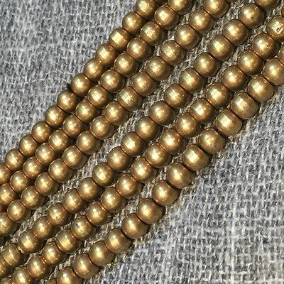 """Antique Gold Raw Solid Brass 4mm Beads Spacers Strand Necklace 30"""" Handmade BS07"""