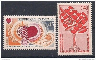 France 1972 WHO Medical Health Heart Blood Donors Welfare 2v MNH