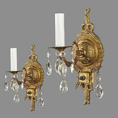 Spanish Brass & Crystal Pair Wall Sconces c1950 Vintage Antique French Style