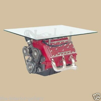 V8 Engine Coffee Center Table - Car Decor - V8 Engine Center Table - Red