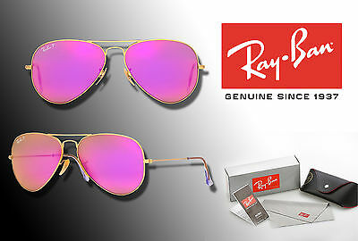 New Ray-Ban Original Aviator 3025 Rb3025 58 Cyclamen Polarized Lens /gold Frame