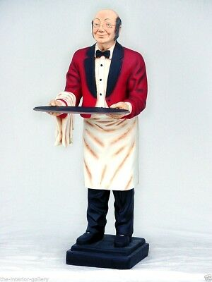 Waiter Old Man - Butler Statue - Life Size Butler Statue - Waiter w/ Tray 6FT