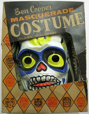 Ben Cooper _RARE ORIGINAL_ 1950's Skeleton Halloween Costume w/Box VTG Mask BOO!