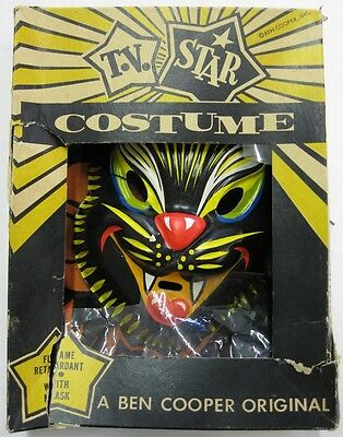 Ben Cooper _RARE ORIGINAL_ 1950's Black Cat Halloween Costume w/Box VTG Wolfman