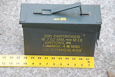 US-Military-Ammo-Metal Box-200 Cartridges-7.62mm-M13- M62-4-M80 Case Army Empty