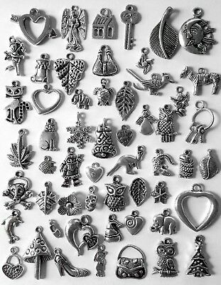Bulk Lot of 50 Mixed Styles Tibetan Silver Charms Pendants New Free Post