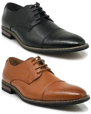 Parrazo Men Dress Shoes Cap Toe Oxford Leather Lined Lace Up Black Brown Wood-4