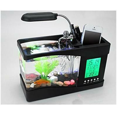 Aquarium Mini Desktop LED Fishing Fish Tank Aquarium w/ LED lamp Light 2 Colors