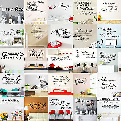 Family DIY Removable Art Vinyl Quote Wall Stickers Decal Mural Home Kids Decor H