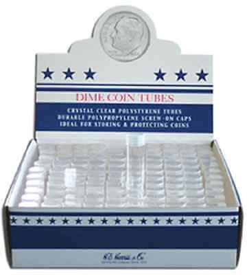 Coin Tubes Round Dime, 1 Lot of 5 each, (07084)