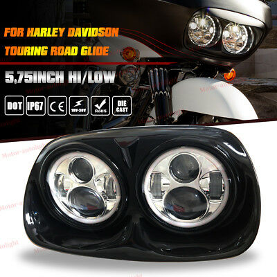 1 Set Dual Daymaker LED Headlight Assembly For Harley 04-13 Road Glide Head lamp