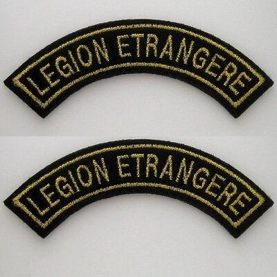 FRENCH FOREIGN LEGION ETRANGERE -2 (TWO) x SHOULDER TITLE CLOTH PATCH -GOLD WIRE