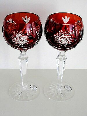 AJKA HUNGARY ADORLEE RUBY RED CASED CUT CRYSTAL WINE GOBLETS Set of 2
