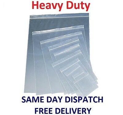 Heavy Duty Grip Seal Resealable Bags Poly Plastic Zip Lock Self Seal *All Sizes*
