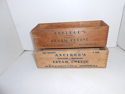 2 Vintage Axelrod's Cream Cheese Wood Box Crate 3 lb. Englewood, NJ good cond.