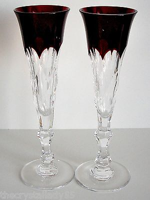 FABERGE OPERETTE RUBY RED CASED CUT TO CLEAR CRYSTAL CHAMPAGNE SIGNED Set of 2