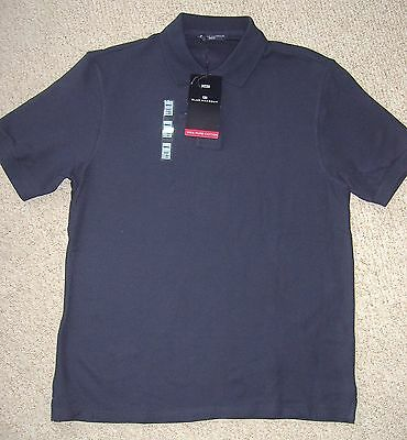 Mens Navy Blue Plain Pure Cotton Polo Shirt From Marks And Spencer Size S Or M