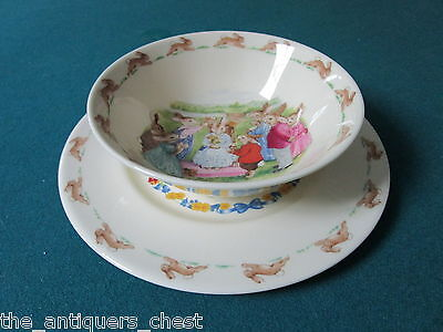 Royal Doulton England Bunnykinds,bowl and Happy Easter plate,[bnnykinds]
