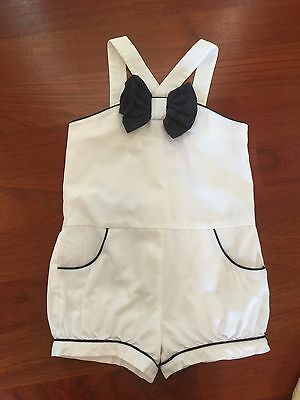 Janie And Jack Sunny Stroll Girls Navy White Romper 4