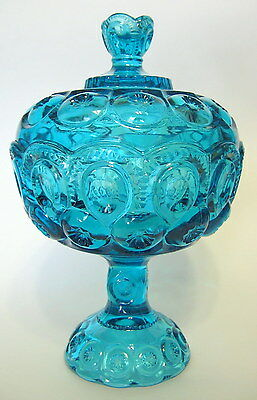 Ornate Blue Glass Compote with Lid L.E. Smith Moon and Stars