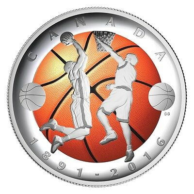 125TH ANNIVERSARY INVENTION OF BASKETBALL - 2016 $25 Fine Silver Convex Coin RCM