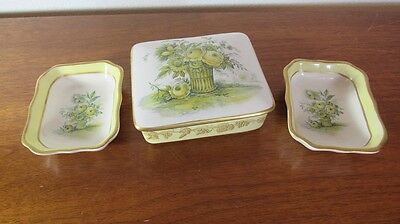 Porcelain Mottahedeh Italy Design 3 Trinket Dishes Hand painted Floral Gold Tone
