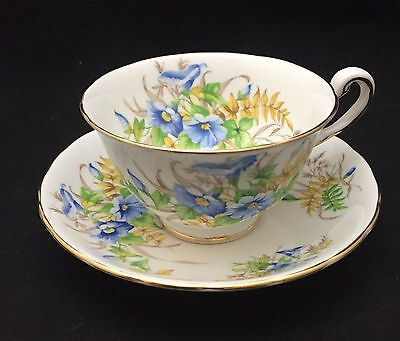 Royal Chelsea Blue Flowers Teacup with saucer