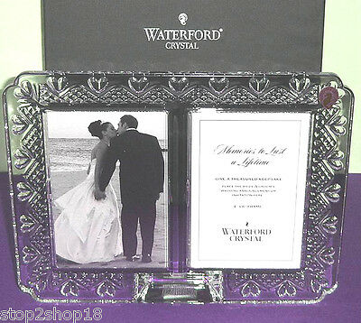 Waterford Double Picture Frame Wedding Photo Announcement Crystal 128901 New Box