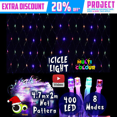 400 LED Xmas Icicle Net Indoor/Outdoor Christmas Light Multi Color Party Wedding