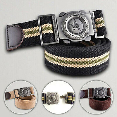 Men's Belts Alloy Buckle Waist Strap Waistband Canvas Striped Casual Fashion New