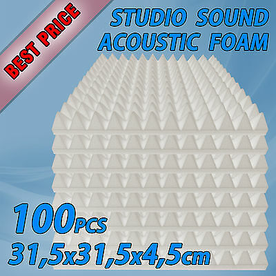 Acoustic Foam Pyramid Tiles Studio Sound Bass Room Treatment White