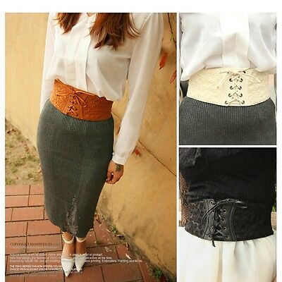 Womens PU Leather Lace Corset Waistband Wide Elastic Stretch Waist Belt Fashion