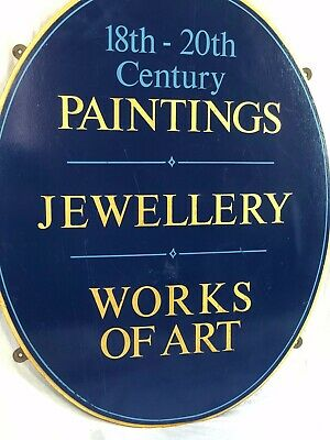Antique Shop Oval Wood Sign (18th-20th Century Paintings Jewellery Works Of Art)