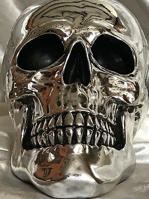 Handmade Gothic Style Silver Plate Art Cranial Scary Skull Ornament Statue