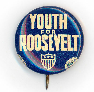"* Superb ~  "" YOUTH  FOR  ROOSEVELT ""  ~  1932 Campaign Button"