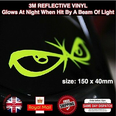 Fluorescent Yellow No Fear Eyes Motorcycle Sticker Decals Vinyl 150mm L027