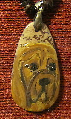 Bloodhound hand painted on oblong Jasper pendant/bead/necklace