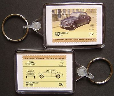 1955 ROVER P4 / 90 Car Stamp Keyring (Auto 100 Automobile)