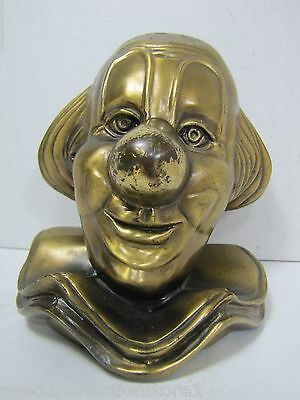 Vintage Circus Clown Doorstop Bookend bald big nose smiley face brass plate