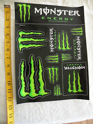 NEW - SHEET with 12 individual MONSTER Energy Drink decals