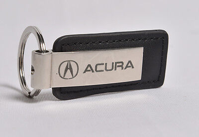 ACURA Logo Leather and Chrome Key Ring Chain Black Silver
